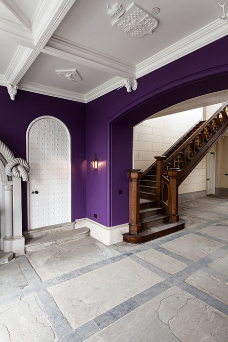violet entrance hall in Scottish castle