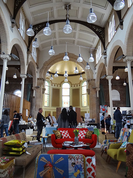 interior view of Halle St Peter's showing Heather Linnett's upholstered items in the foreground