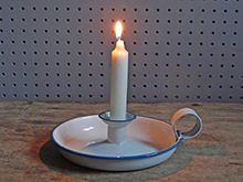 vintage white enamel candle holder