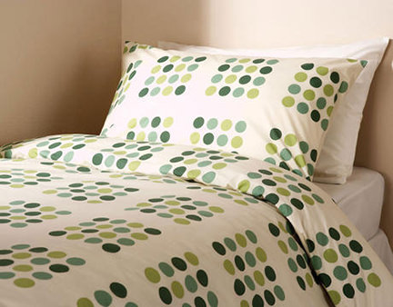 Mitre Linen green spotty duvet set