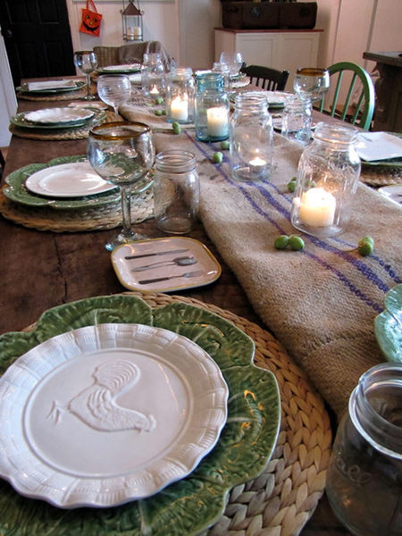 Table with rustic dining settings