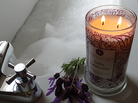 Imperial Candles 100% natural soy wax candle in Calm Lavender with a bubble bath