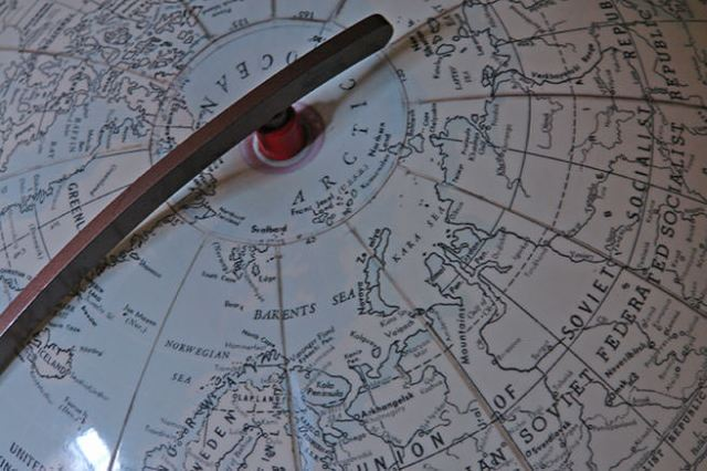 Detail of inflatable vintage Hammond's International World Globe showing the Arctic Circle