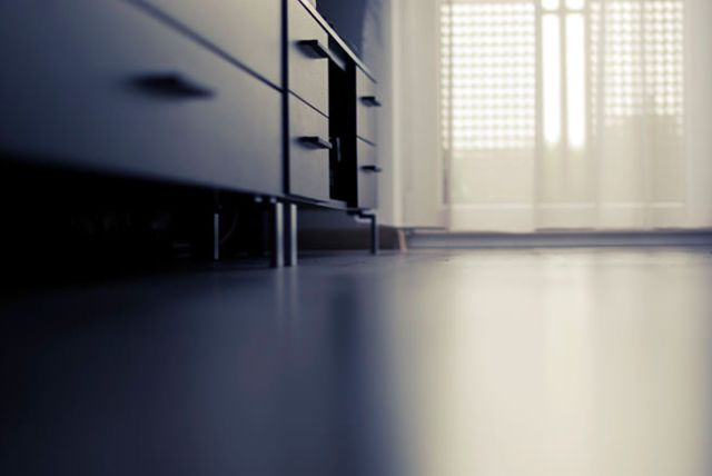 High-gloss kitchen floor