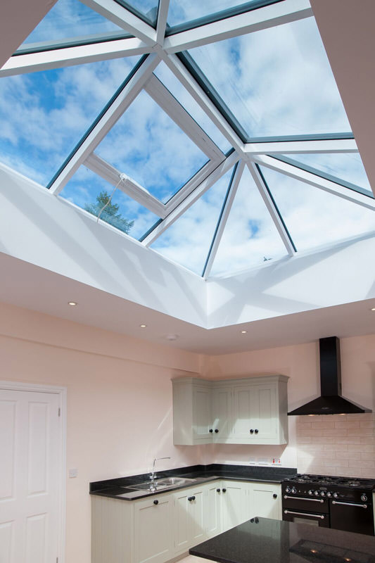 Lantern roof installed over a kitchen