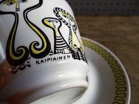 Vintage Arabia cup & saucer showing Birger Kaipiainen's name on the bottom rim