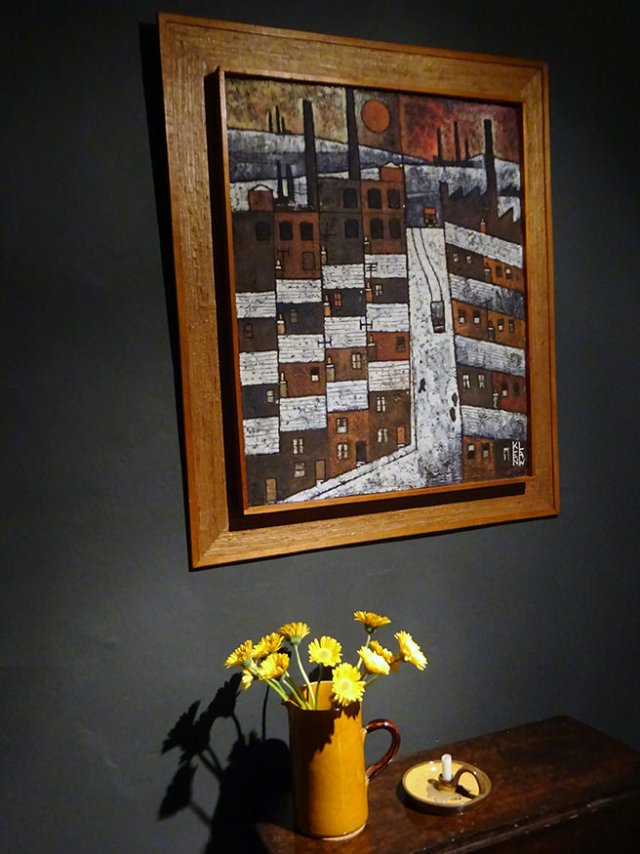 Original Ken Law 'Oldham Landscape', etched oil on gesso, circa 1969 with jug of flowers | H is for Home