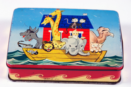 vintage tin illustrated with Noah's ark | H is for Home
