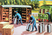 vintage Thomas the Tank book showing illustration of milk churns being delivered | H is for Home