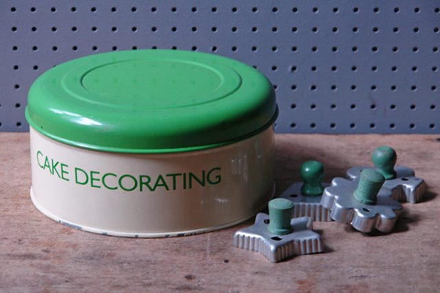 'cake decorating' cream & green kitchen storage tin | H is for Home