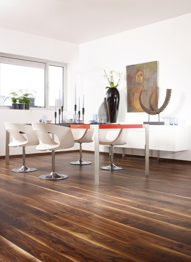 Black walnut laminated flooring in a dining room