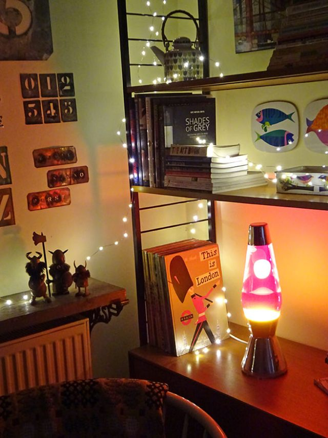 Pretty Green x Mathmos lava lamp on a vintage Ladderax shelving system | H is for Home