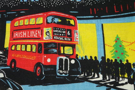 detail of vintage tea towel showing Oxford Street lights at night in London