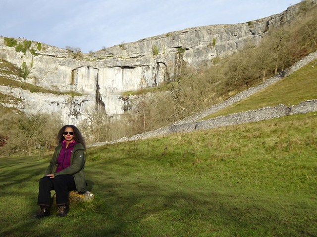 Adelle with Malham Cove in the background, Yorkshire Dales | H is for Home