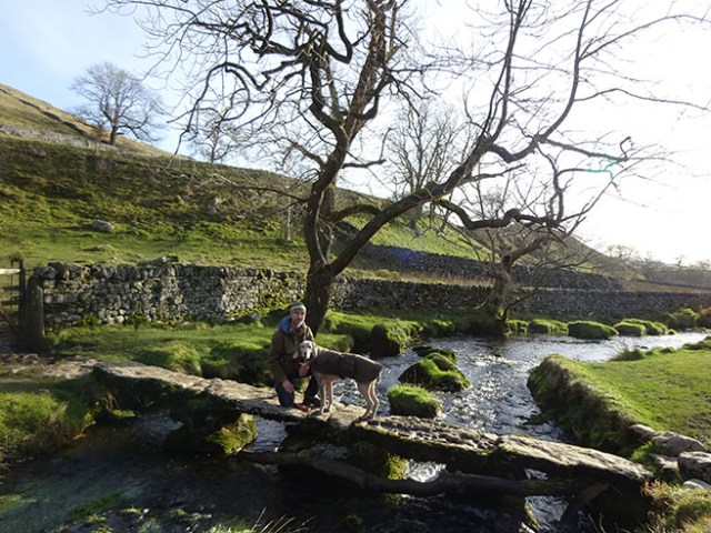 Justin and Fudge on a bridge over Malham Beck, Yorkshire Dales | H is for Home