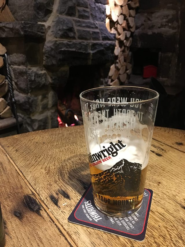 A pint of bitter in front of the fire in the Lister Arms Hotel bar, Malham, Yorkshire Dales | H is for Home