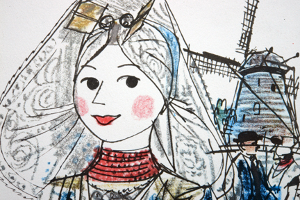 detail of KLM menu illustration by Otto Dicke depicting a girl in traditional Dutch costume