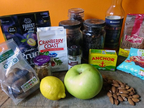 Home-made mincemeat ingredients