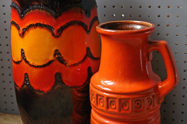 Two orange vintage West German fat lava vases | H is for Home