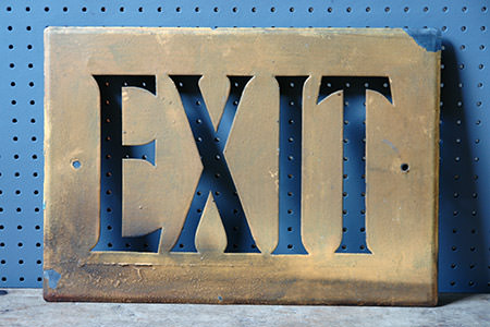 vintage metal exit sign | H is for Home