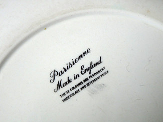 Back stamp from vintage Rigeway Parisienne side plate | H is for Home