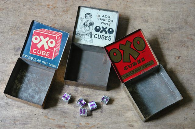 Three vintage Oxo cubes tins with lids open | H is for Home