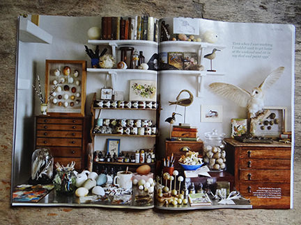 Tony Ladd's studio workspace featured in the April 2014 Homes & Antiques magazine