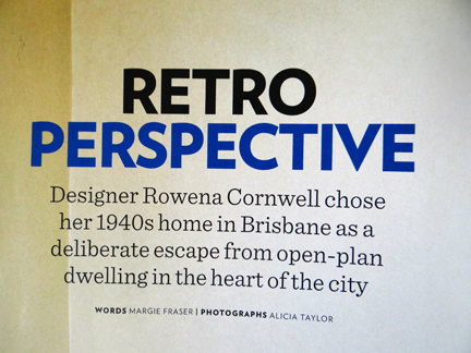 """Retro Perspective"" feature in the November 2013 edition of Homes & Gardens Magazine"