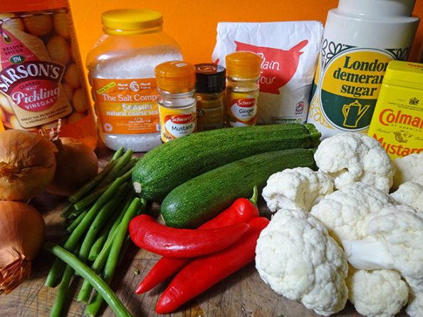 Home-made piccalilli ingredients