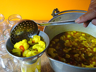 Ladling piccalilli into jars | H is for Home