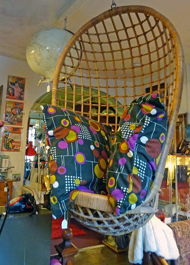 Vintage wicker hanging chair with pair of vintage cushions | H is for Home