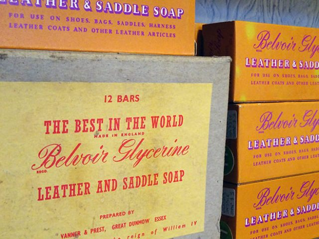 Collection of new old stock boxes of Belvoir leather and saddle soap | H is for Home