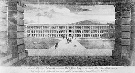 Early engraving of Piece Hall, Halifax