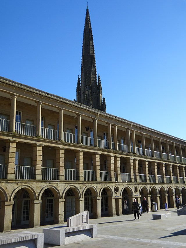 Piece Hall, Halifax with the spire of Square Church in the background | H is for Home