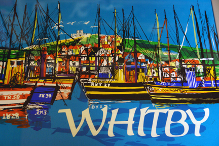 detail of original vintage 'Whitby' travel poster