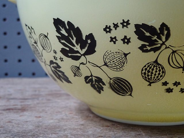 Detail of vintage Pyrex 'Gooseberry' pattern | H is for Home