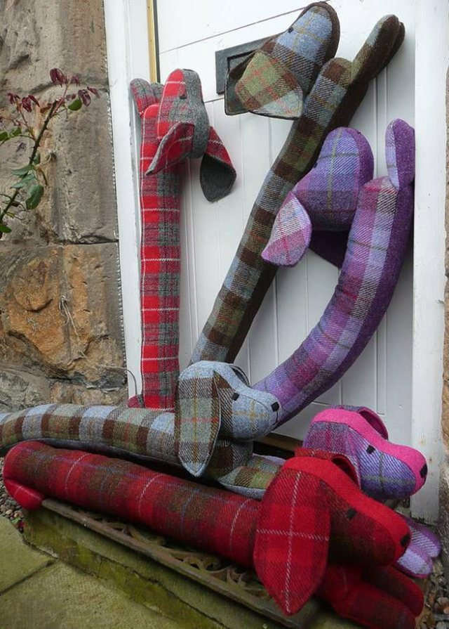 Sausage dog tartan draught excluders