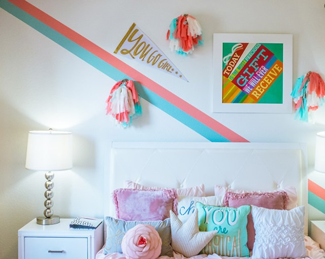 Girl's bedroom with wall art