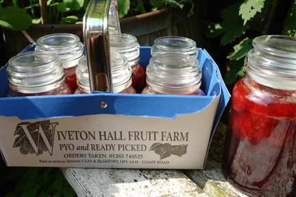 home-made jam made with strawberries we picked at Wiverton Farm on the North Norfolk coast