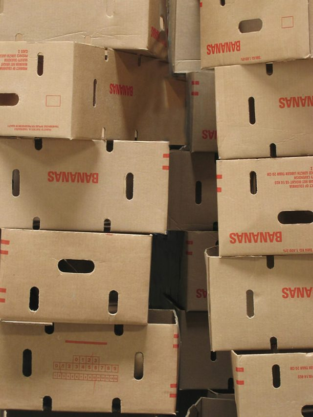Stack of banana boxes
