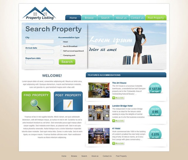Online estate agent website template