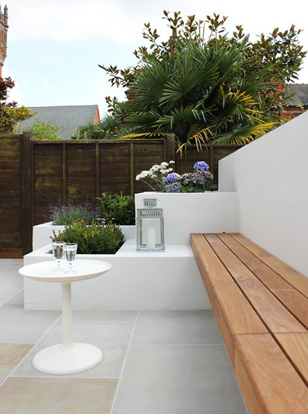 White-painted walls in a small patio