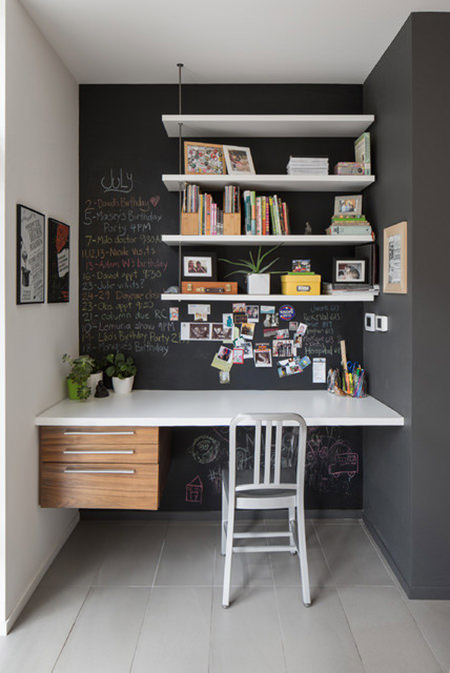 home office with black-painted chalk board wall