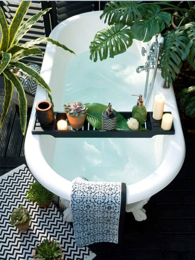 Roll-top bath surrounded by tropical plants