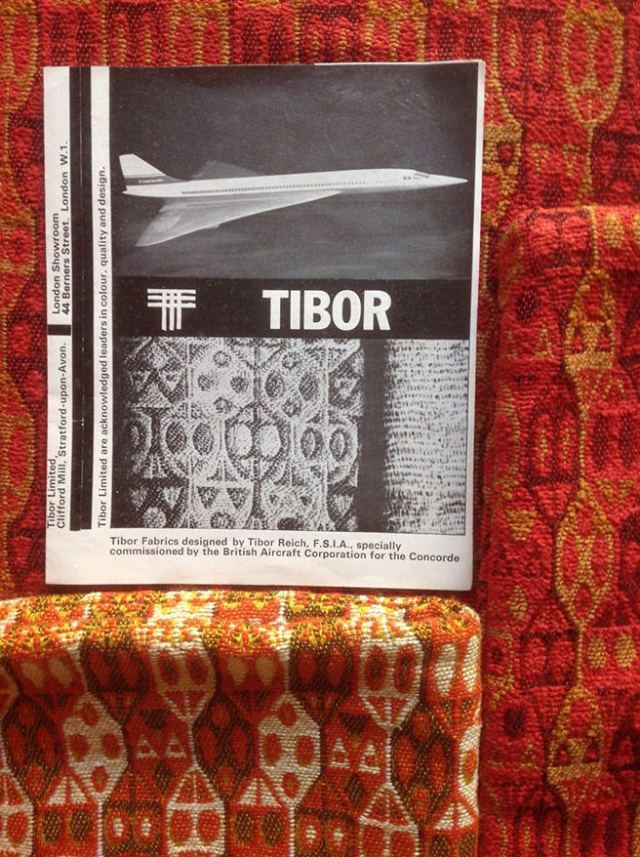 Vintage Tibor Reich fabric with cut out from a 1960s issue of Cabinet Maker and Retail Furnisher, October