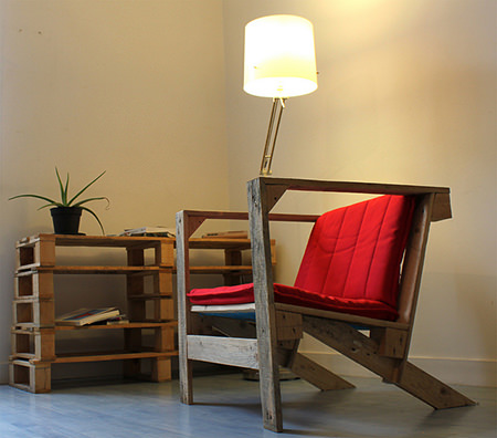 Chair and table made from upcycled pallets