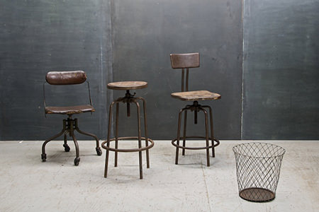 Collection of vintage industrial seating