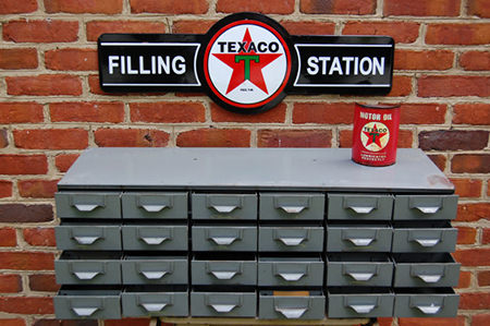 Vintage industrial metal bank of drawers