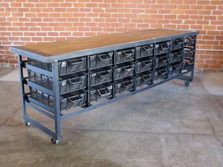 Vintage industrial work surface with storage below