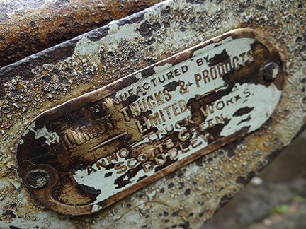 detailed view of vintage industrial trolley 'Dudley' label